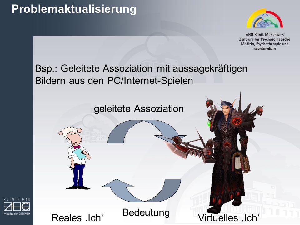 Bsp.: Geleitete Assoziation mit aussagekräftigen Bildern aus den PC/Internet-Spielen geleitete Assoziation Bedeutung Reales 'Ich'Virtuelles 'Ich' Prob