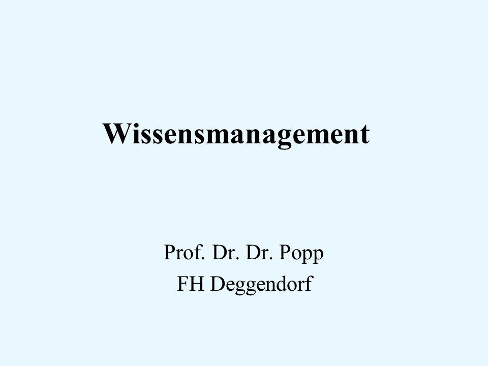 Wissensmanagement Prof. Dr. Dr. Popp FH Deggendorf