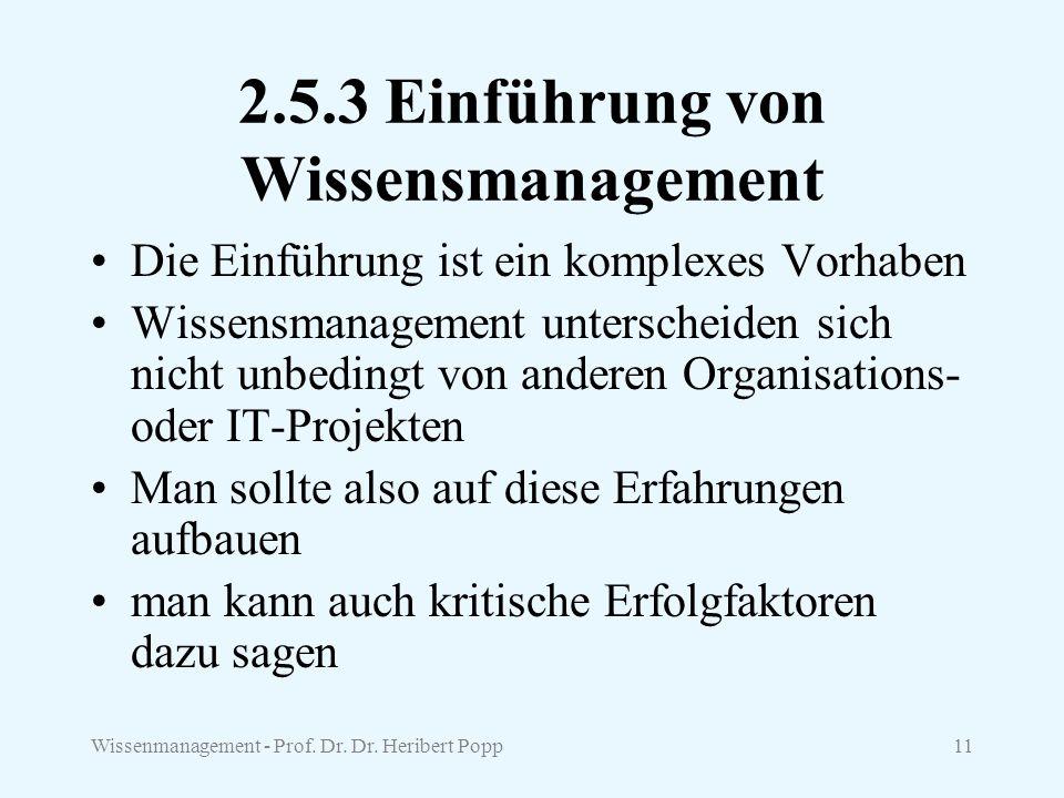 Wissenmanagement - Prof. Dr. Dr. Heribert Popp11 2.5.3 Einführung von Wissensmanagement Die Einführung ist ein komplexes Vorhaben Wissensmanagement un