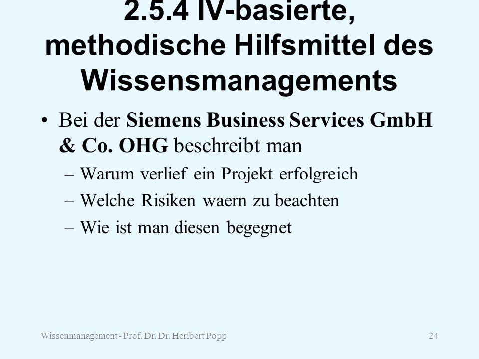 Wissenmanagement - Prof. Dr. Dr. Heribert Popp24 2.5.4 IV-basierte, methodische Hilfsmittel des Wissensmanagements Bei der Siemens Business Services G