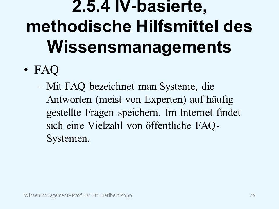 Wissenmanagement - Prof. Dr. Dr. Heribert Popp25 2.5.4 IV-basierte, methodische Hilfsmittel des Wissensmanagements FAQ –Mit FAQ bezeichnet man Systeme