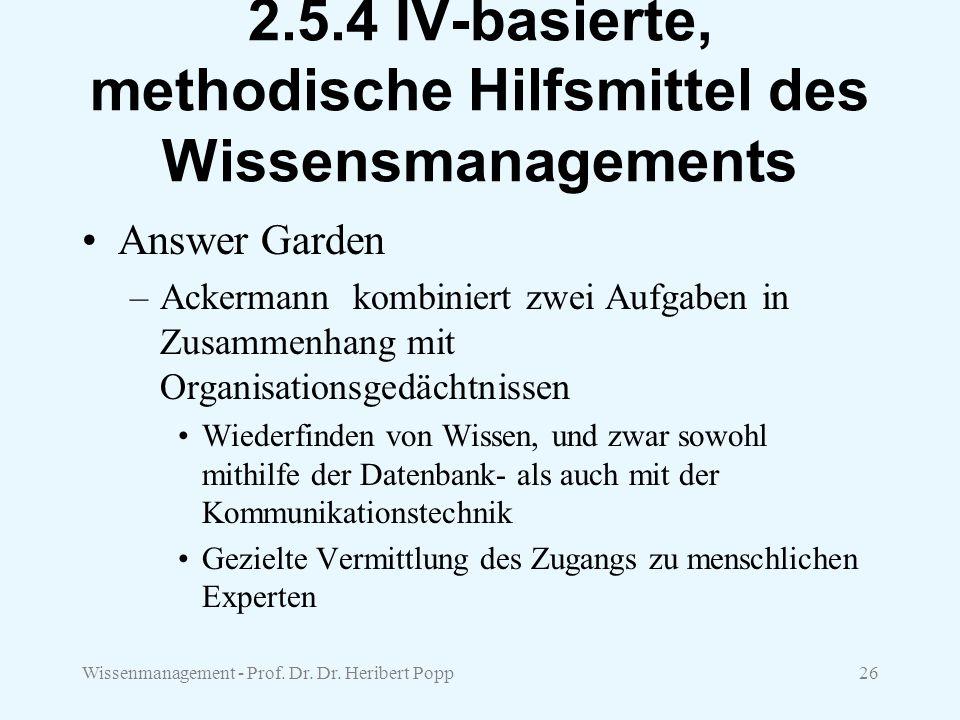 Wissenmanagement - Prof. Dr. Dr. Heribert Popp26 2.5.4 IV-basierte, methodische Hilfsmittel des Wissensmanagements Answer Garden –Ackermann kombiniert