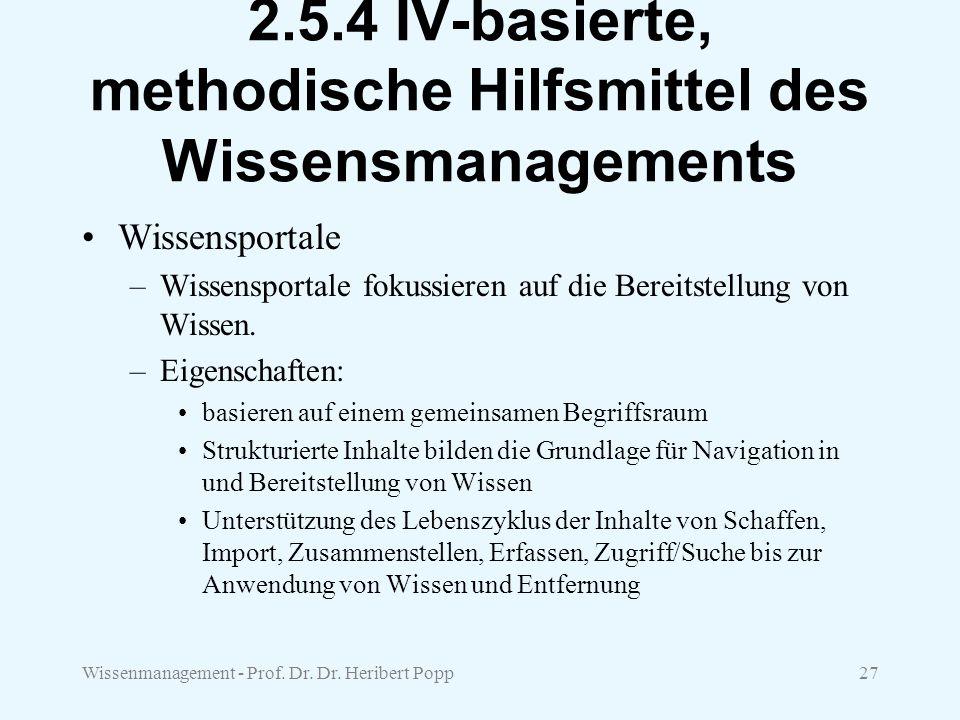 Wissenmanagement - Prof. Dr. Dr. Heribert Popp27 2.5.4 IV-basierte, methodische Hilfsmittel des Wissensmanagements Wissensportale –Wissensportale foku