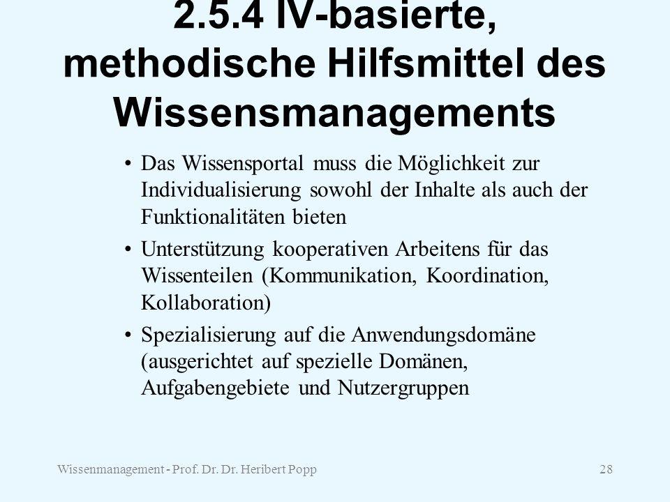 Wissenmanagement - Prof. Dr. Dr. Heribert Popp28 2.5.4 IV-basierte, methodische Hilfsmittel des Wissensmanagements Das Wissensportal muss die Möglichk