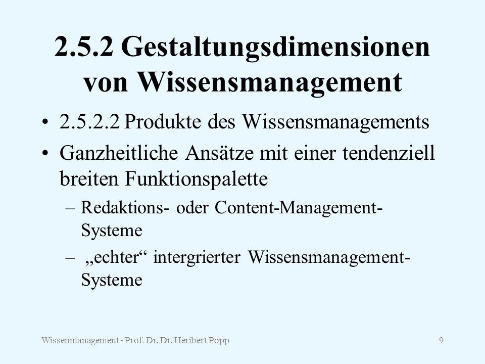 Wissenmanagement - Prof. Dr. Dr. Heribert Popp9 2.5.2 Gestaltungsdimensionen von Wissensmanagement 2.5.2.2 Produkte des Wissensmanagements Ganzheitli