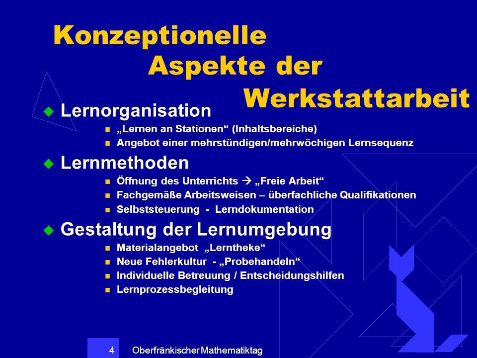 """Oberfränkischer Mathematiktag 4 Konzeptionelle Aspekte der Werkstattarbeit  Lernorganisation """"Lernen an Stationen"""" (Inhaltsbereiche) Angebot einer me"""
