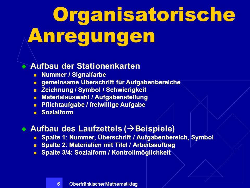 Oberfränkischer Mathematiktag 6 Organisatorische Anregungen  Aufbau der Stationenkarten Nummer / Signalfarbe gemeinsame Überschrift für Aufgabenberei