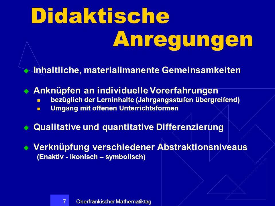 Oberfränkischer Mathematiktag 7 Didaktische Anregungen  Inhaltliche, materialimanente Gemeinsamkeiten  Anknüpfen an individuelle Vorerfahrungen bezü