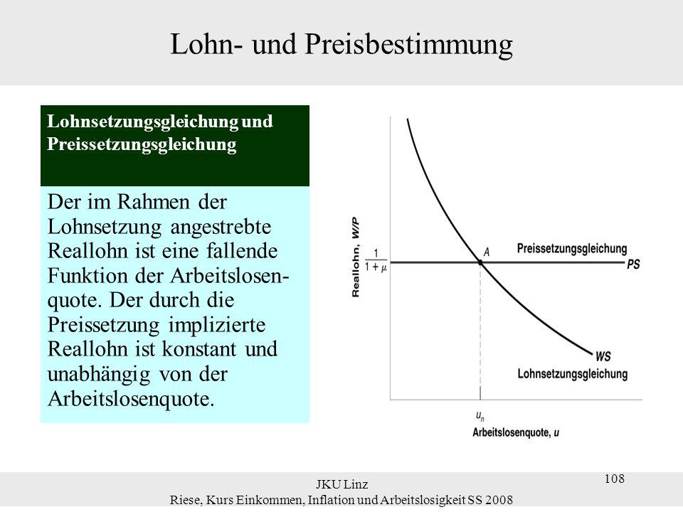 JKU Linz Riese, Kurs Einkommen, Inflation und Arbeitslosigkeit SS 2008 108 Lohn- und Preisbestimmung Der im Rahmen der Lohnsetzung angestrebte Realloh