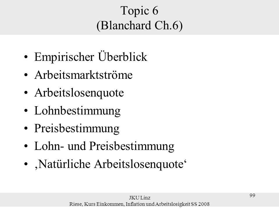 JKU Linz Riese, Kurs Einkommen, Inflation und Arbeitslosigkeit SS 2008 99 Topic 6 (Blanchard Ch.6) Empirischer Überblick Arbeitsmarktströme Arbeitslos
