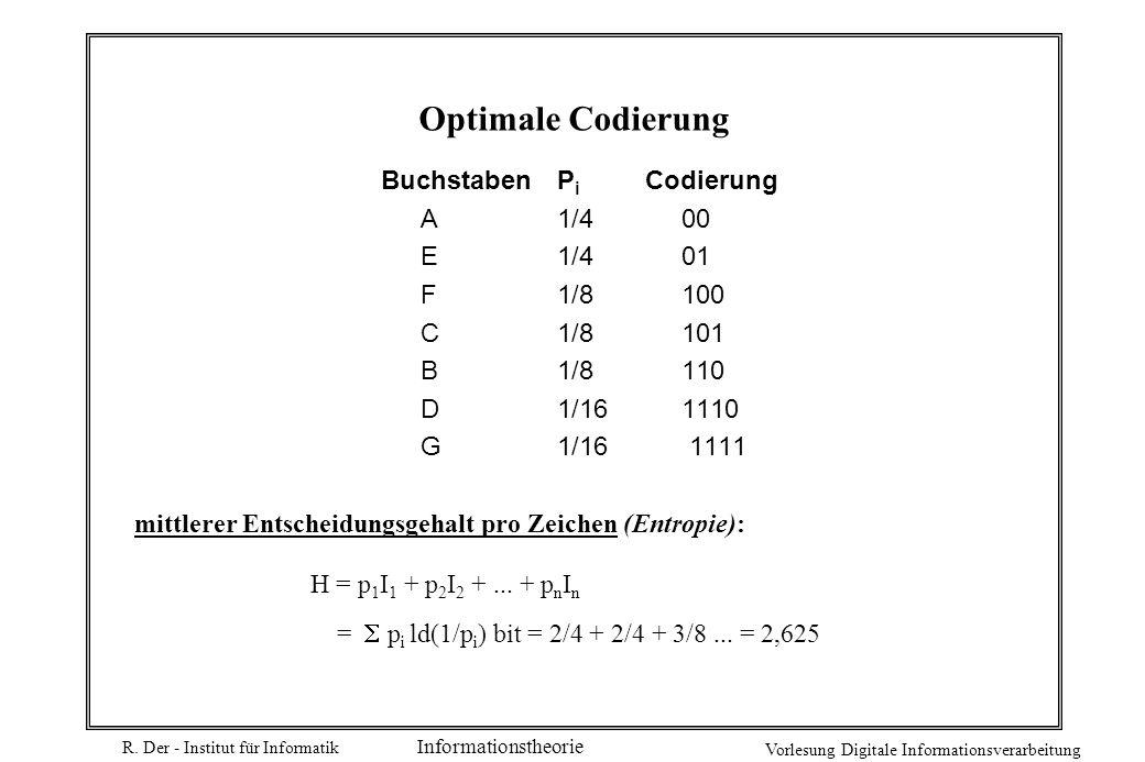 R. Der - Institut für Informatik Vorlesung Digitale Informationsverarbeitung Informationstheorie Optimale Codierung BuchstabenP i Codierung A1/4 00 E1