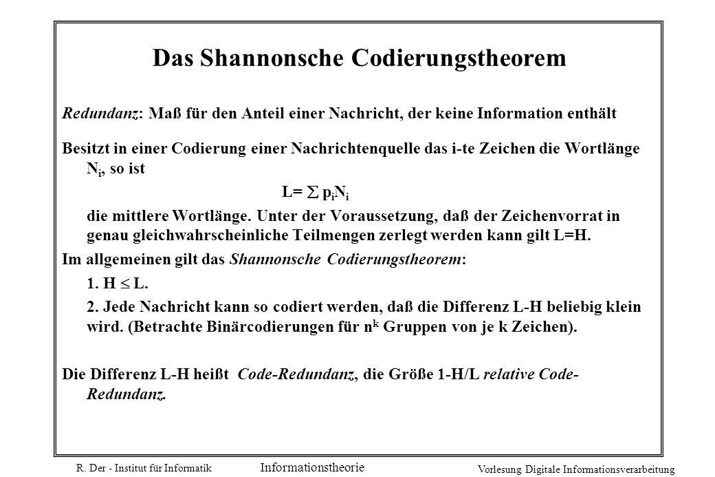 R. Der - Institut für Informatik Vorlesung Digitale Informationsverarbeitung Informationstheorie Das Shannonsche Codierungstheorem Redundanz: Maß für