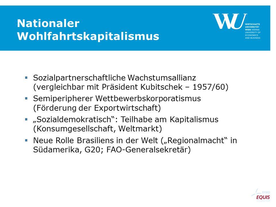 Nationaler Wohlfahrtskapitalismus  Sozialpartnerschaftliche Wachstumsallianz (vergleichbar mit Präsident Kubitschek – 1957/60)  Semiperipherer Wettb