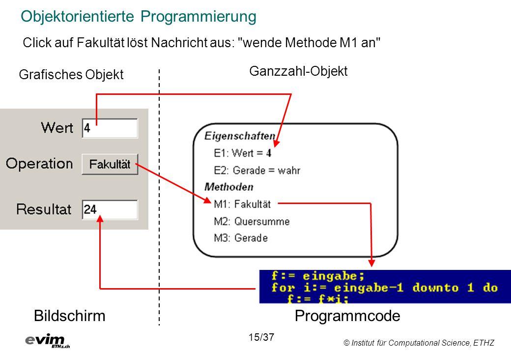 © Institut für Computational Science, ETHZ Objektorientierte Programmierung 15/37 Click auf Fakultät löst Nachricht aus: wende Methode M1 an Bildschirm Programmcode Ganzzahl-Objekt Grafisches Objekt