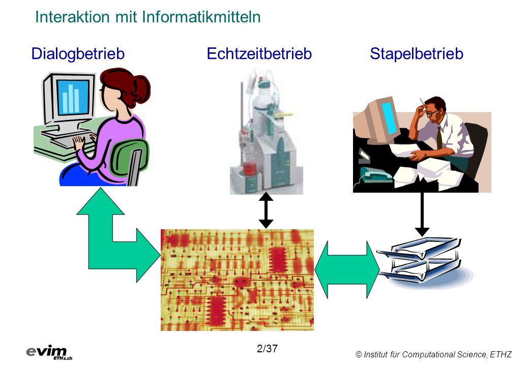 © Institut für Computational Science, ETHZ Interaktion mit Informatikmitteln DialogbetriebEchtzeitbetriebStapelbetrieb 2/37