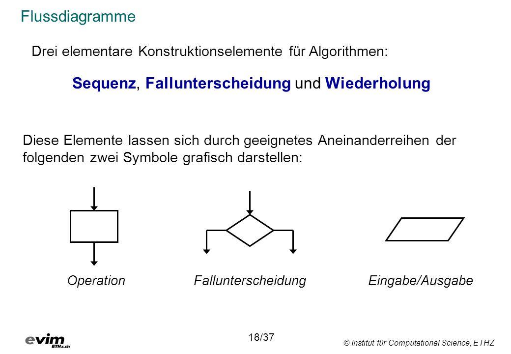 © Institut für Computational Science, ETHZ Flussdiagramme Drei elementare Konstruktionselemente für Algorithmen: Sequenz, Fallunterscheidung und Wiederholung Diese Elemente lassen sich durch geeignetes Aneinanderreihen der folgenden zwei Symbole grafisch darstellen: 18/37 OperationFallunterscheidungEingabe/Ausgabe