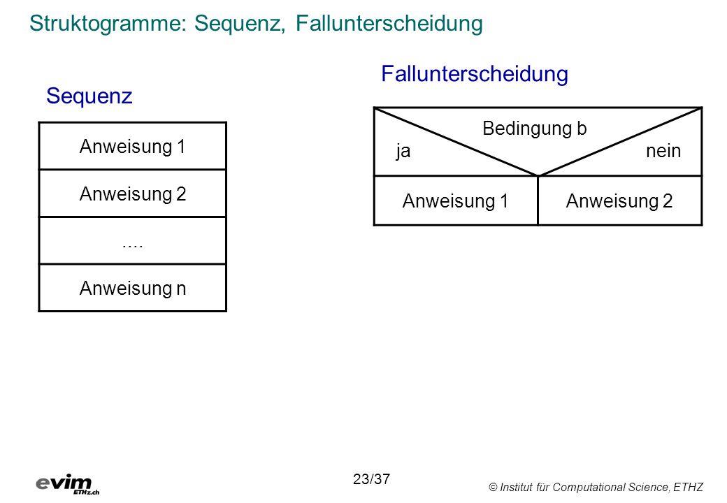 © Institut für Computational Science, ETHZ Struktogramme: Sequenz, Fallunterscheidung Sequenz Anweisung 1 Anweisung 2....