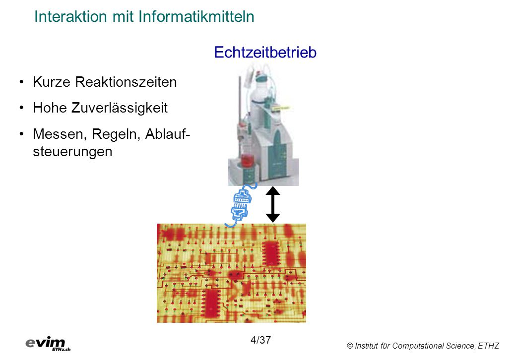 © Institut für Computational Science, ETHZ Interaktion mit Informatikmitteln Echtzeitbetrieb 4/37 Kurze Reaktionszeiten Hohe Zuverlässigkeit Messen, Regeln, Ablauf- steuerungen