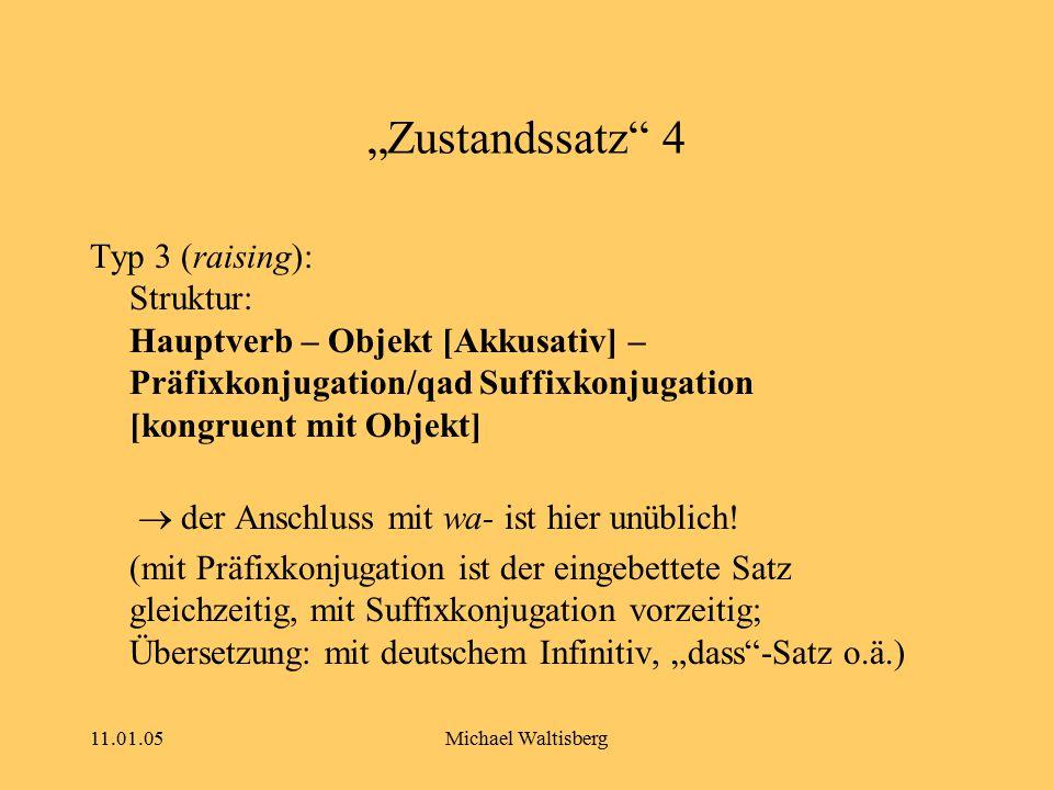 "11.01.05Michael Waltisberg ""Zustandssatz"" 4 Typ 3 (raising): Struktur: Hauptverb – Objekt [Akkusativ] – Präfixkonjugation/qad Suffixkonjugation [kongr"