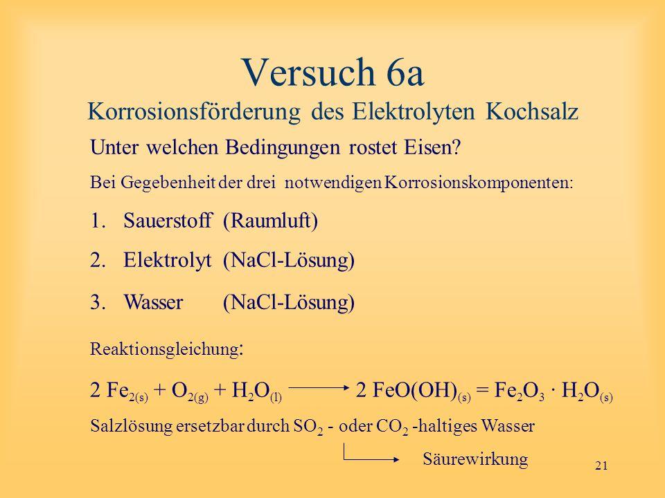 21 Versuch 6a Korrosionsförderung des Elektrolyten Kochsalz Unter welchen Bedingungen rostet Eisen.