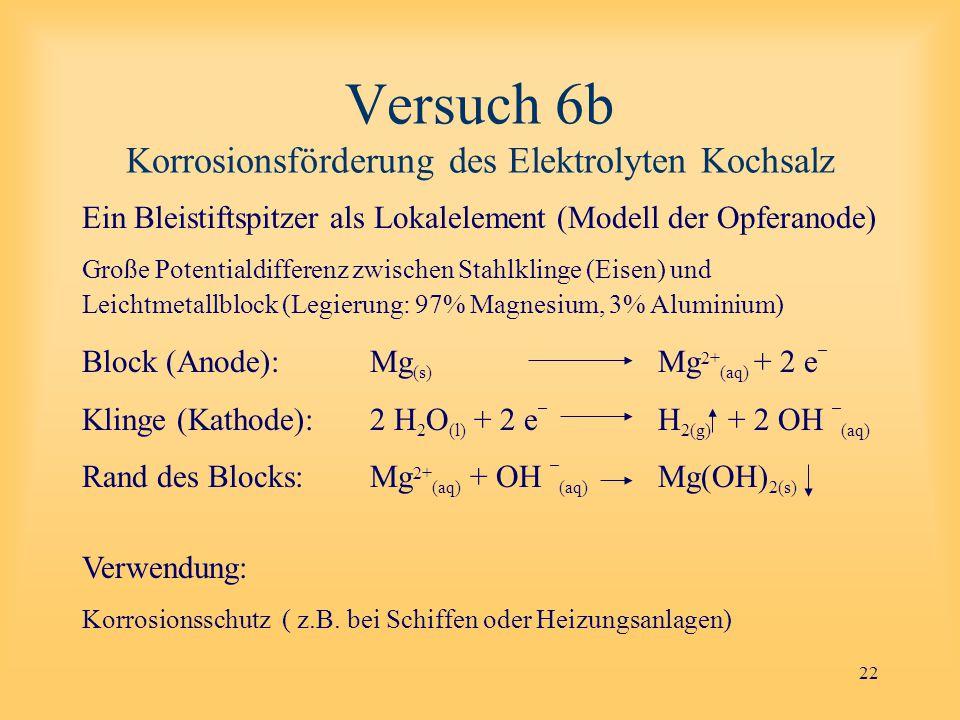 22 Versuch 6b Korrosionsförderung des Elektrolyten Kochsalz Ein Bleistiftspitzer als Lokalelement (Modell der Opferanode) Große Potentialdifferenz zwischen Stahlklinge (Eisen) und Leichtmetallblock (Legierung: 97% Magnesium, 3% Aluminium) Block (Anode): Mg (s) Mg 2+ (aq) + 2 e ¯ Klinge (Kathode):2 H 2 O (l) + 2 e ¯ H 2(g) + 2 OH ¯ (aq) Rand des Blocks:Mg 2+ (aq) + OH ¯ (aq) Mg(OH) 2(s) Verwendung: Korrosionsschutz ( z.B.
