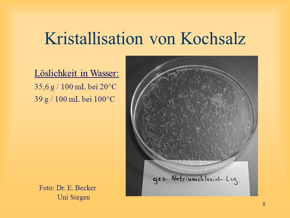 8 Kristallisation von Kochsalz Löslichkeit in Wasser: 35,6 g / 100 mL bei 20°C 39 g / 100 mL bei 100°C Foto Uni Siegen Foto: Dr.