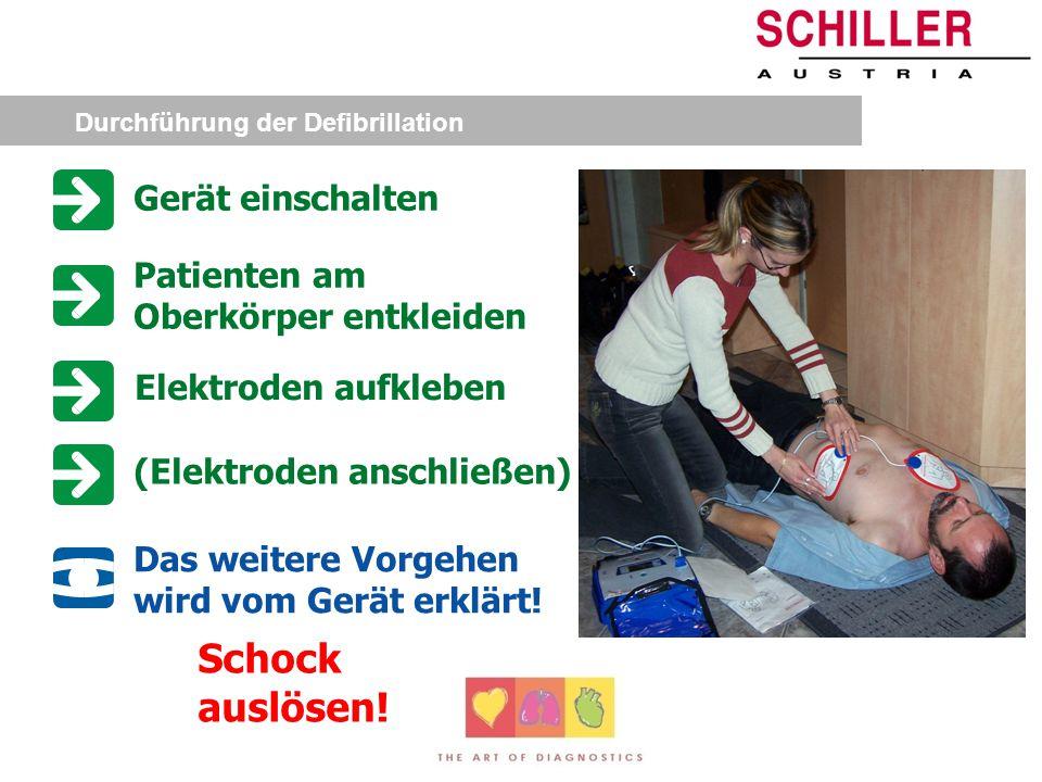 Defibrillation Abgabe eines Gleichstromimpulses (Elektroschock) Gleichrichtung aller Herzmuskelfasern Wiedereinsetzen einer regelmäßigen und koordinie