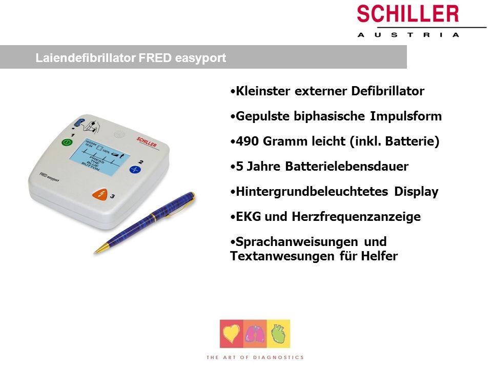 Laiendefibrillator FRED easy Automatische Selbstkontrolle Gepulste biphasische Impulsform 2 Tasten-Bedienung 5 Jahre Batterielebensdauer Hintergrundbe