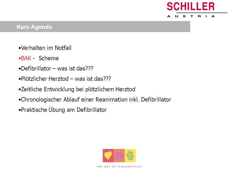 Kurs Agenda Verhalten im Notfall BAK - Schema Defibrillator – was ist das??.