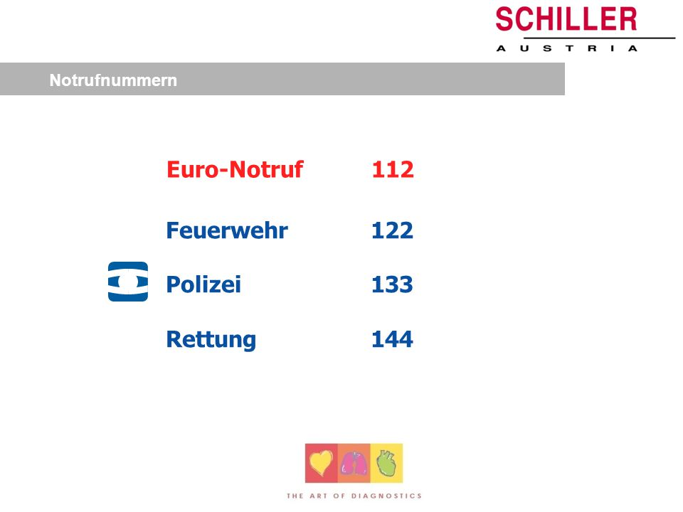 Notrufnummern Feuerwehr122 Polizei133 Rettung144 Euro-Notruf112
