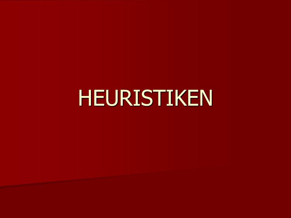 Überblick Allgemeines zum Thema Heuristiken Allgemeines zum Thema Heuristiken Formen von Heuristiken Formen von Heuristiken - Verfügbarkeitsheuristik - Repräsentativitätsheuristik - Framing - Anker-Heuristik - Simulationsheuristik