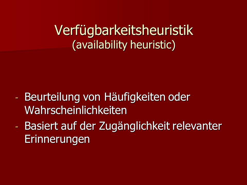 Verfügbarkeitsheuristik (availability heuristic) - Beurteilung von Häufigkeiten oder Wahrscheinlichkeiten - Basiert auf der Zugänglichkeit relevanter