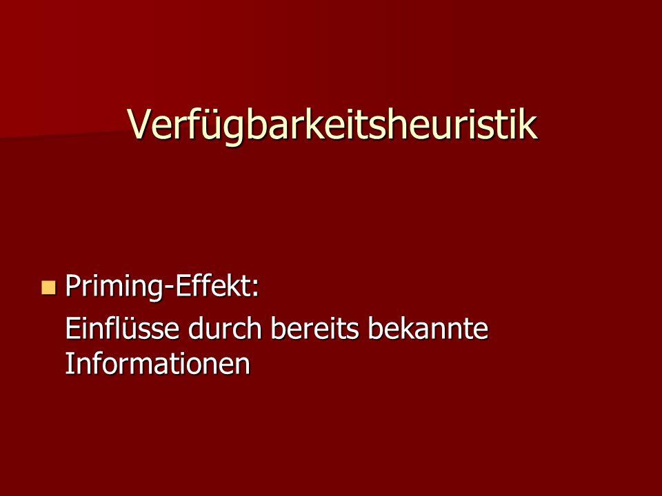 Verfügbarkeitsheuristik Priming-Effekt: Priming-Effekt: Einflüsse durch bereits bekannte Informationen