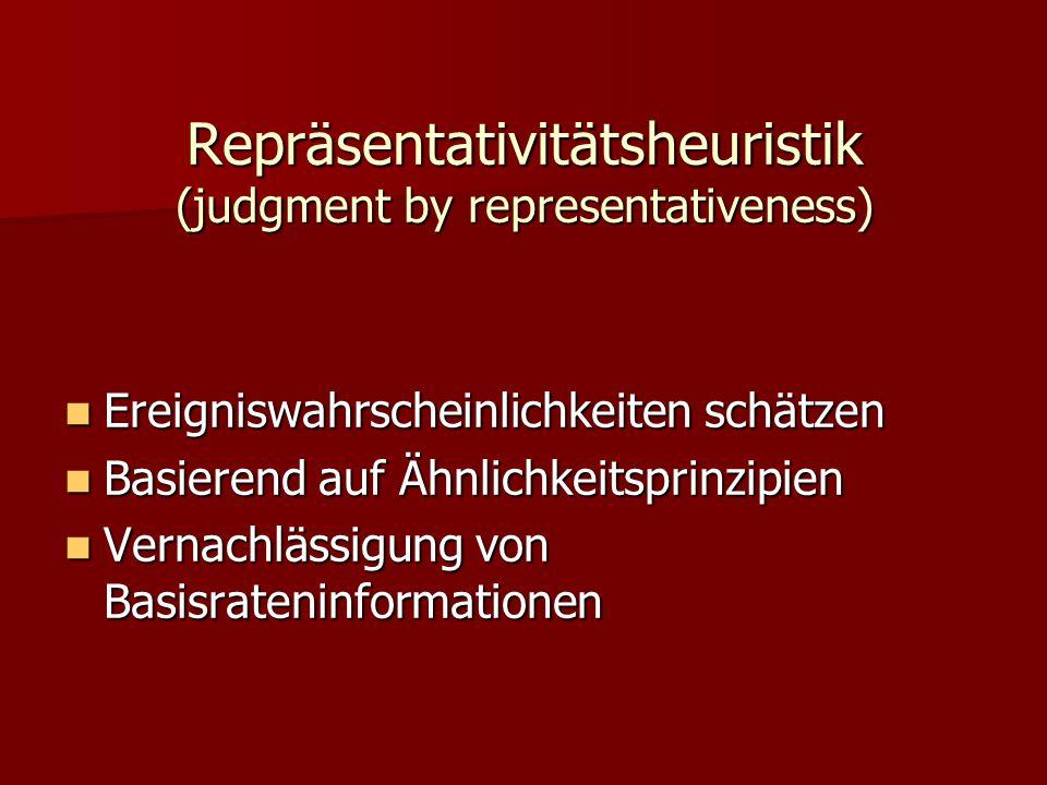 Repräsentativitätsheuristik (judgment by representativeness) Ereigniswahrscheinlichkeiten schätzen Ereigniswahrscheinlichkeiten schätzen Basierend auf