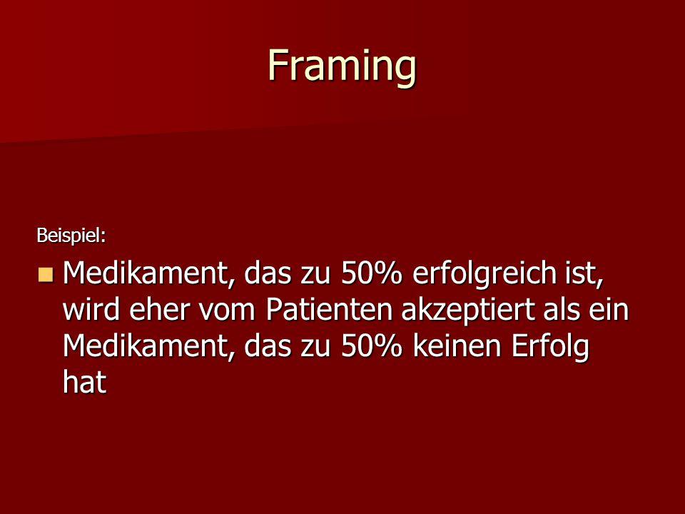 Framing Beispiel: Medikament, das zu 50% erfolgreich ist, wird eher vom Patienten akzeptiert als ein Medikament, das zu 50% keinen Erfolg hat Medikame