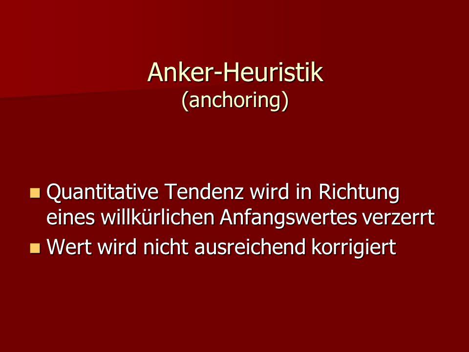Anker-Heuristik (anchoring) Quantitative Tendenz wird in Richtung eines willkürlichen Anfangswertes verzerrt Quantitative Tendenz wird in Richtung ein