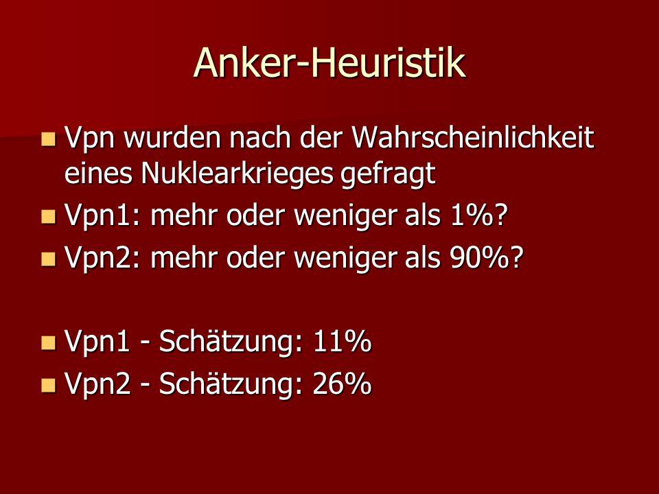 Anker-Heuristik Vpn wurden nach der Wahrscheinlichkeit eines Nuklearkrieges gefragt Vpn wurden nach der Wahrscheinlichkeit eines Nuklearkrieges gefrag
