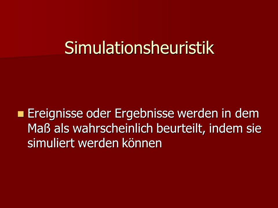 Simulationsheuristik Ereignisse oder Ergebnisse werden in dem Maß als wahrscheinlich beurteilt, indem sie simuliert werden können Ereignisse oder Erge