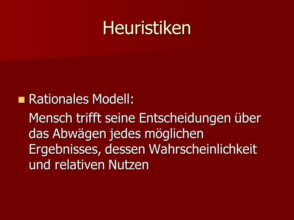 Heuristiken Rationales Modell: Rationales Modell: Mensch trifft seine Entscheidungen über das Abwägen jedes möglichen Ergebnisses, dessen Wahrscheinli