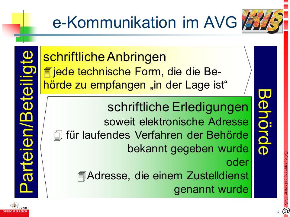 """4 E-Government bei einem UVS Einzelfragen n § 13 Abs 1 AVG: """"Anbringen l in jeder technischer Form, die die Behörde zu empfangen """"in der Lage ist l Kopie (""""Unverfälschbarkeit ) l Veröffentlichung der Adresse und technischen Voraussetzungen (Beispiel Oö."""
