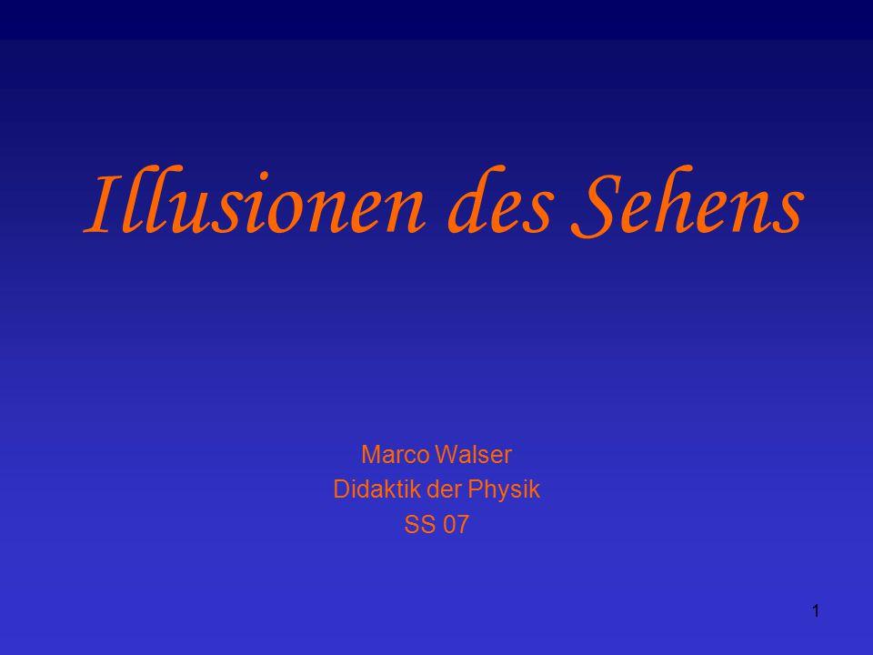 2 Inhalt Kapitel 1: Das Licht, die Wahrnehmung und die Gesetze des Sehens Kapitel 2: Die geometrisch-optischen Täuschungen Kapitel 3: Wahrnehmung von Formen und Helligkeiten Kapitel 4: Mehrdeutige Wahrnehmungen Kapitel 5: Die Farbe und der graue Alltag Kapitel 6: Das räumliche Sehen Kapitel 7: Bewegungen sind Leben Illusionen des Sehens