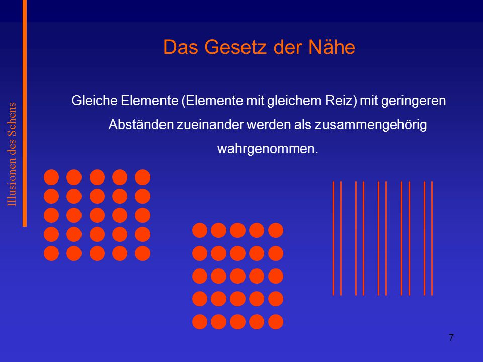78 Illusionen des Sehens 2 Arten der Tiefenbestimmung: Tiefenbestimmung durch Konvergenz Winkelmessung zwischen den Augen Tritt allerdings beim Menschen nicht auf Tiefenbestimmung durch Querdisparation Vergleich der beiden Abbilder auf den Retinen  Gesamtergebnis des 3D- Sehens ist bei weitem mehr als nur die Summe der 2D- Einzelbilder.