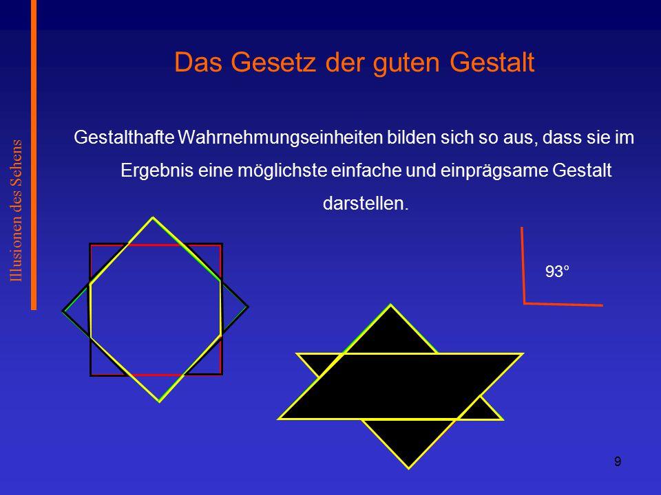 80 Illusionen des Sehens Sehentfernungauflösbare Tiefenunterschiede Leseentfernung (35 cm)0,13 mm (Brotkrümel) Zimmerwandentfernung (3 m)0,5 cm (Bilderrahmen) nähere Umgebung im Freien (20 m)22 cm (Handlänge) Fußballstadion (100 m)5,7 m (halbes Fußballtor) 500 m180 m Tiefenauflösungsvermögen durch Querdisparation: