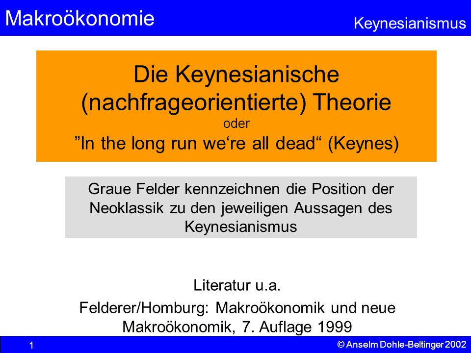Makroökonomie Keynesianismus © Anselm Dohle-Beltinger 2002 62 Arbeitslosigkeit wegen fehlender Nachfrage  Bestimmung der Schnittpunkte mit der Produktionsfunktion von Gut 1 und 2 bei Unterauslastung  Bestimmung der Aufteilung des Faktors Arbeit auf die beiden Güter  Höhe der dazu benötigten Arbeitsmengen  Höhe der resultierenden Arbeitslosigkeit x1x1 x2x2 N N Kann nicht jede produzierte Menge verkauft werden, so wird die Produktion verringert.