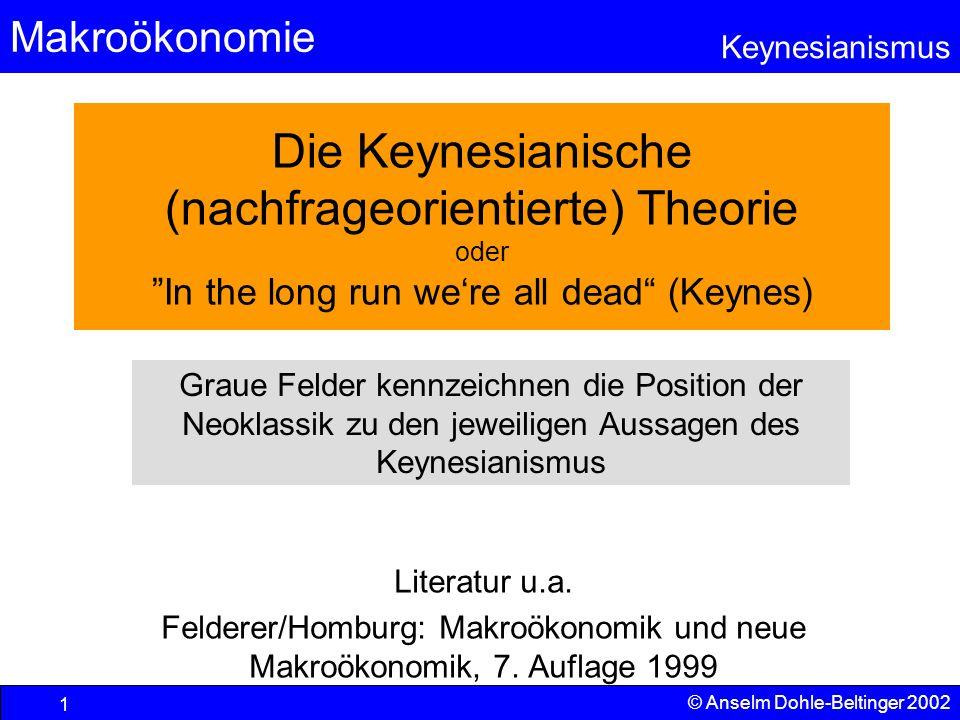 Makroökonomie Keynesianismus © Anselm Dohle-Beltinger 2002 72 Und wie sieht's beim Keynesianer aus.