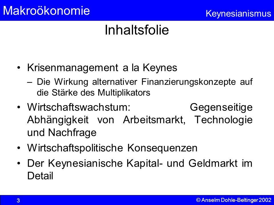 Makroökonomie Keynesianismus © Anselm Dohle-Beltinger 2002 54 Arbeitskräf- tepoten- tial N = Einsatzmenge des Produktionsfaktors Arbeit x 1,x 2 : Outputmengen von Gut 1 und 2 Begrenzter Faktorvorrat  Beschränkung der Arbeitskräfte x1x1 x2x2 N N Produktionsfunktion Umwandlung Menge Input N in Menge Output Gut 2 Umwandlung Input N in Output Gut 1