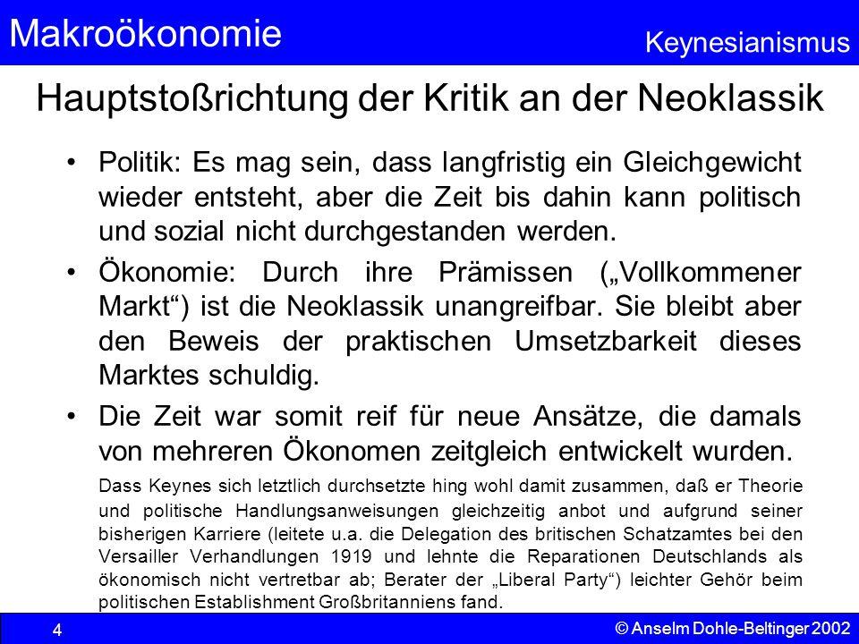 Makroökonomie Keynesianismus © Anselm Dohle-Beltinger 2002 35 Güterproduktion und Verwendung nach Keynes Es gilt immer Y=Y S Für S(Y)>I a (=Nachfragelücke auf dem Kapital- markt) folgt eine Nachfragelücke auf dem Gütermarkt Investition  Markierung des Outputs auch auf der Y-Achse und Verbindung von Y und Ys  Lücke auf dem Kapitalmarkt  Lücke auf dem Gütermarkt IaIa S Keynes Nachfragelücke Konsum YSYS Y