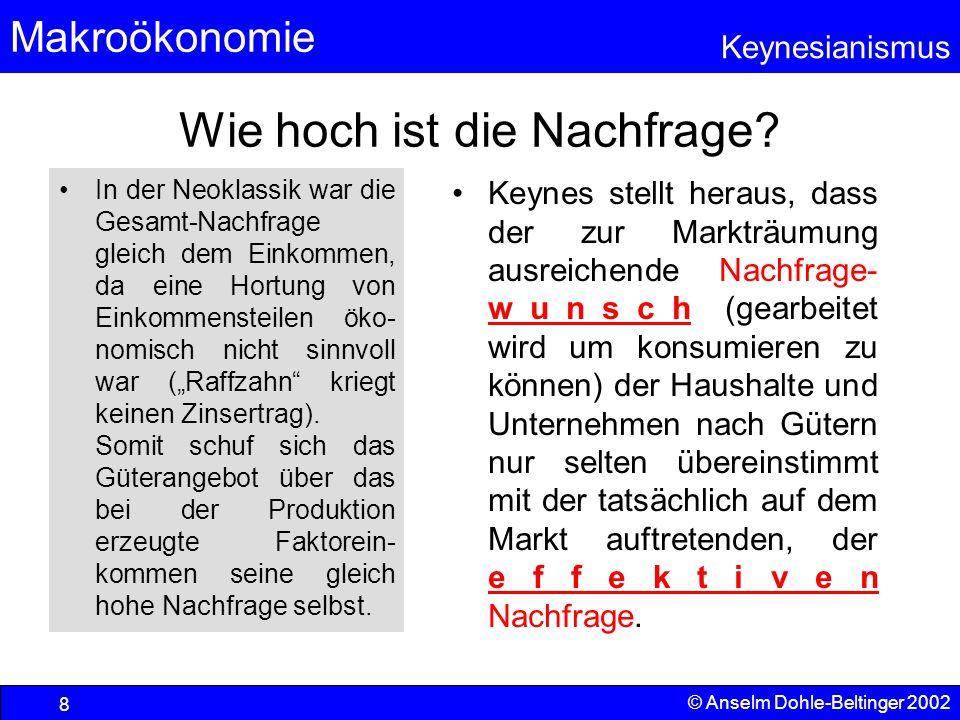 Makroökonomie Keynesianismus © Anselm Dohle-Beltinger 2002 49 Fiskalpolitik bei Unterbeschäftigung wegen pessimistischer Erwartungen Neoklassik: Das Prob- lem ist nicht relevant, da keine Unsi- cherheit be- steht, die Psyche also nicht zur Lethargie führen kann.