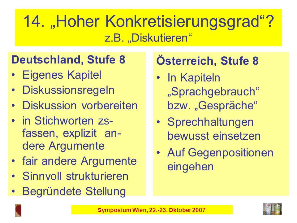 """Symposium Wien, 22.-23. Oktober 2007 14. """"Hoher Konkretisierungsgrad ."""