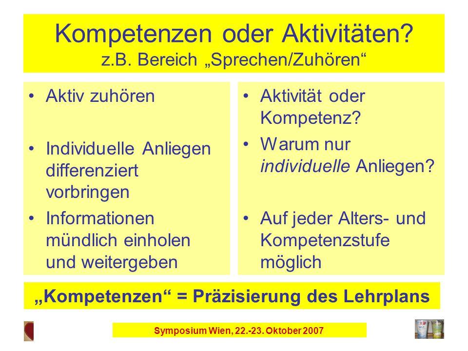 Symposium Wien, 22.-23. Oktober 2007 Kompetenzen oder Aktivitäten.